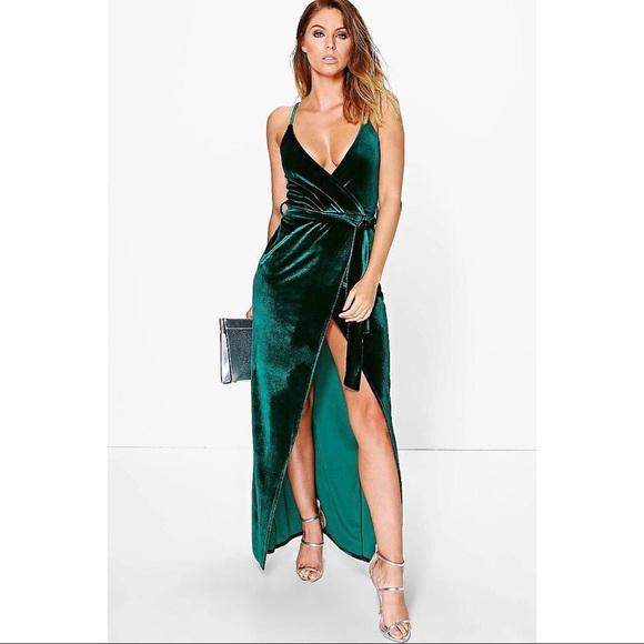 bb96fedde692 Boohoo Dresses | Velvet Wrap Tie Maxi Dress | Poshmark
